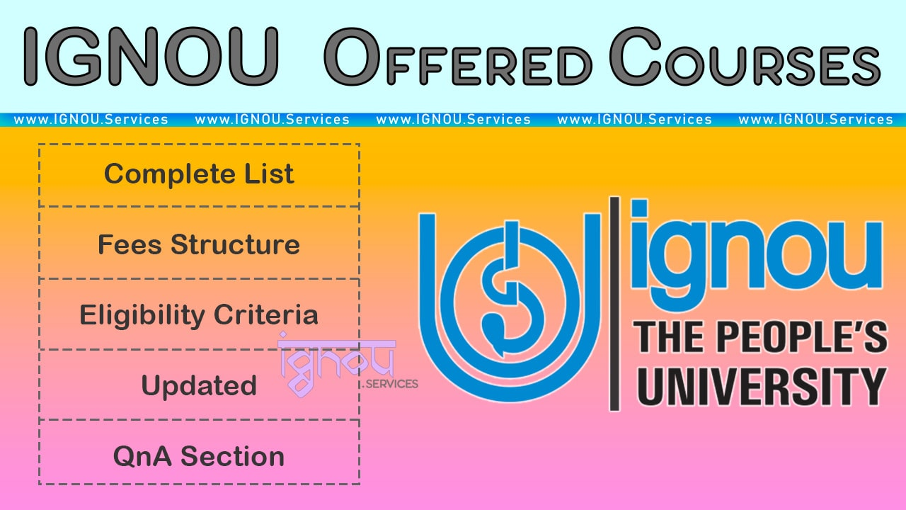 Ignou Courses Aug 2020 Offered List Fees Pg Ug Diploma